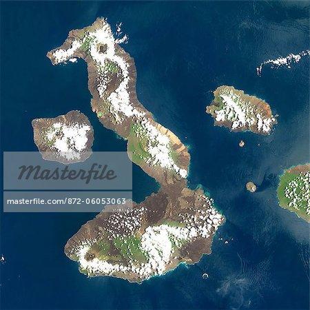 Satellite View of Galapagos Volcanoes, Galapagos Archipelago