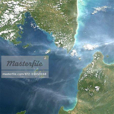 Satellite View of Krakatau Volcano, Indonesia