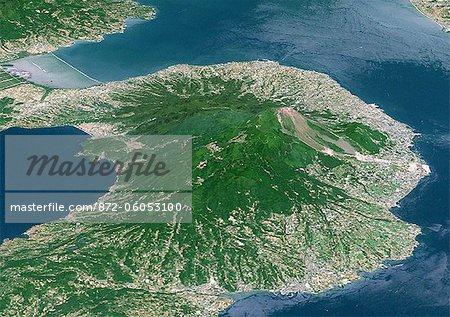 Unzen Volcano In 3D, Japan, True Colour Satellite Image. Unzen, Japan, true colour satellite image. 3D satellite view of Unzen volcano, located on the Island of Kyushu, East of Nagasaki. Image taken on 15 May 1993 using LANDSAT data.