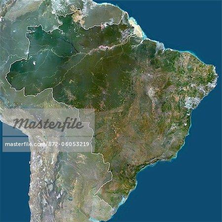 Carte Bresil Satellite.Bresil Amerique Du Sud True Image Satellite Couleur Avec