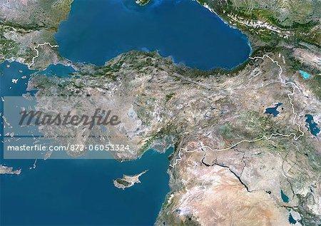 Image de la Turquie, Asie, vrai couleur Satellite avec bordure. Vue satellite de la Turquie (avec bordure). Cette image a été compilée à partir de données acquises par les satellites LANDSAT 5 & 7.