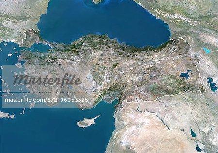 Turquie, Asie, True Image-Satellite couleur avec bordure et masque. Vue satellite de la Turquie (avec bordure et masque). Cette image a été compilée à partir de données acquises par les satellites LANDSAT 5 & 7.