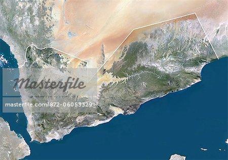Yémen, Moyen-Orient, Asie, True Image Satellite couleur avec bordure et masque. Vue satellite du Yémen (avec bordure et masque). Cette image a été compilée à partir de données acquises par les satellites LANDSAT 5 & 7.
