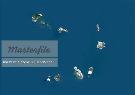 Cap-vert, Afrique, vraie couleur Image-Satellite. Vue satellite de l'archipel du Cap vert. Cette image a été compilée à partir de données acquises par les satellites LANDSAT 5 & 7.