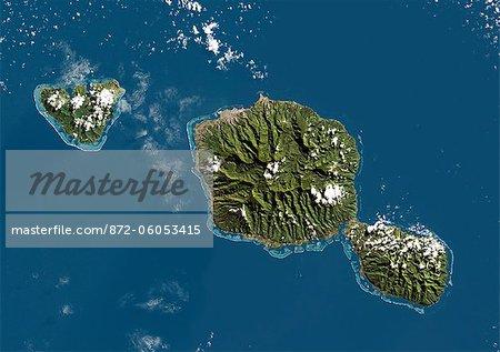 Tahiti, Polynésie française, DOM, Océanie, couleur vraie Image Satellite. Vue satellite de Tahiti, Polynésie française, située dans l'archipel des îles de la société dans le sud de l'océan Pacifique. Cette image a été compilée à partir de données acquises par les satellites LANDSAT 5 & 7.
