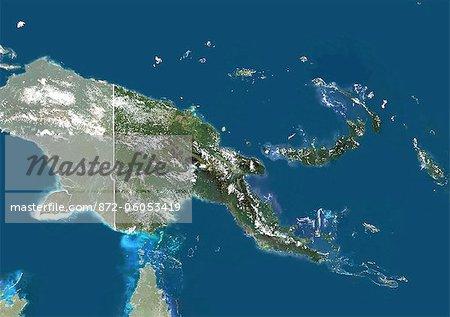 Papouasie-Nouvelle Guinée, Asie, True Image-Satellite couleur avec bordure et masque. Vue satellite de Papouasie Nouvelle-Guinée (avec bordure et masque). Cette image a été compilée à partir de données acquises par les satellites LANDSAT 5 & 7.