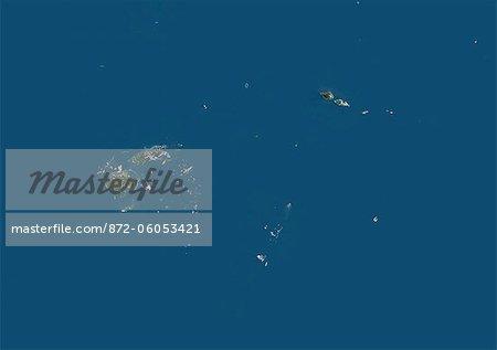 Fiji, Samoa, Tonga, Wallis And Futuna, Oceania, True Colour Satellite Image. Satellite view of Fiji, Samoa, Tonga, Wallis and Futuna Islands. This image was compiled from data acquired by LANDSAT 5 & 7 satellites.