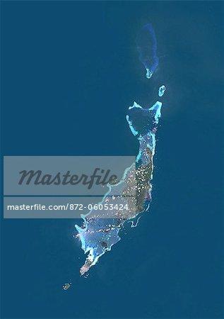 Palau, Micronésie, Océanie, True Image Satellite en couleurs. Vue satellite de Palau, Micronésie, dans l'océan Pacifique Nord. Cette image a été compilée à partir de données acquises par les satellites LANDSAT 5 & 7.