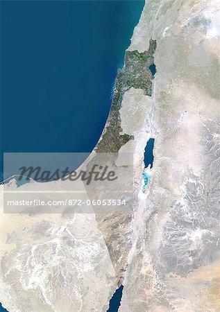 Israël, Moyen-Orient, Asie, True Image Satellite couleur avec masque. Vue satellite d'Israël (avec masque). Cette image a été compilée à partir de données acquises par les satellites LANDSAT 5 & 7.