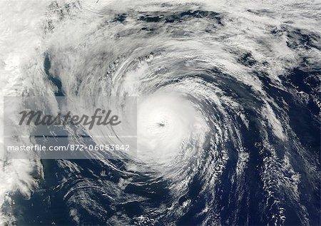 Hurricane Humberto, Atlantic Ocean, In 2001, True Colour Satellite Image. Hurricane Humberto on 26 September 2001 over the Atlantic ocean, after passing near the Bermuda islands. True-colour satellite image using MODIS data.