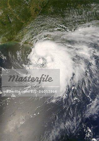 Tempête tropicale Edouard, golfe du Mexique, en 2008, la valeur True Image Satellite de la couleur. Tempête tropicale Edouard le 4 août 2008 dans le golfe du Mexique, large de Louisiane, aux États-Unis. Image satellite de vrais couleurs à partir de données MODIS.