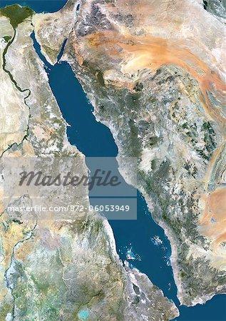 Vue satellite de la mer rouge, Moyen Orient