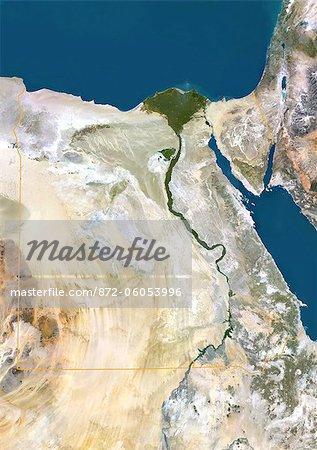 Egypte, Image Satellite couleur vraie avec bordure. Egypte, image satellite couleur vraie avec bordure. Nord est en haut. Dans le centre de l'image est le Delta du Nil, sa végétation luxuriante, suivant le chemin de la rivière. À l'est du Nil est le golfe de Suez, qui descend du côté ouest de la péninsule du Sinaï. Cette image a été compilée à partir de données acquises par les satellites LANDSAT 5 & 7.