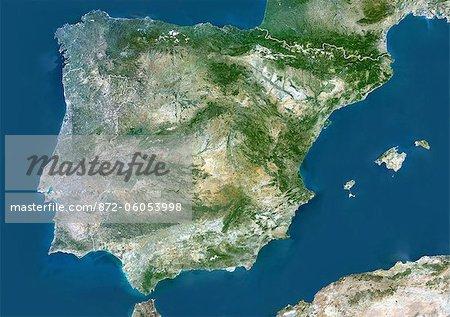 Vue satellite de l'Espagne et le Portugal