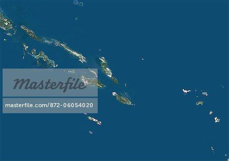 Les îles Salomon, True Image Satellite en couleurs. Îles Salomon, image satellite couleur vraie. Cette image a été compilée à partir de données acquises par le satellite LANDSAT 7.