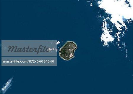 Nauru, Image Satellite de la couleur vraie. Nauru. Image satellite de véritable couleur de Nauru, une île-nation en Micronésie dans le Pacifique Sud. Cette image a été prise le 29 juin 1999, par le satellite LANDSAT 7.