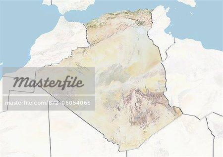 Algérie, carte de Relief avec bordure et masque