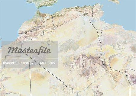 Algérie, carte de Relief avec bordure