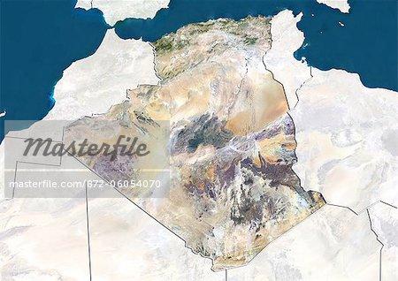 Algérie, True Image couleur Satellite avec bordure et masque