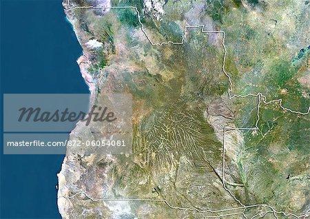 Angola, True Colour Satellite Image With Border