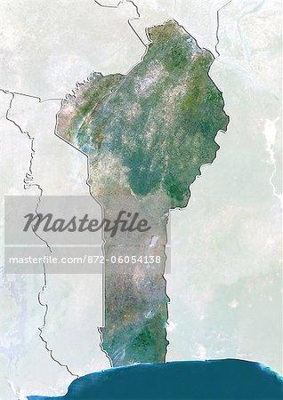 Bénin, True Image couleur Satellite avec bordure et masque