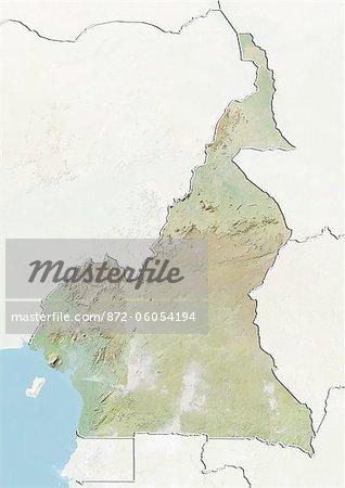 Cameroun, carte de Relief avec bordure et masque
