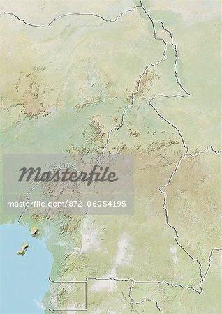Cameroun, carte de Relief avec bordure