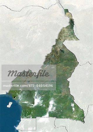 Cameroun, True Image couleur Satellite avec bordure et masque