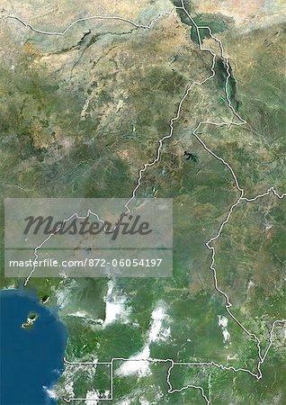 Cameroun, Image Satellite couleur vraie avec bordure