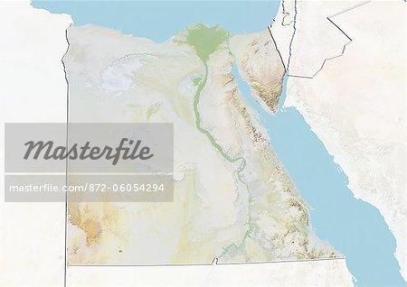 Egypte, carte de Relief avec bordure et masque
