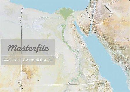 Egypte, carte de Relief avec bordure