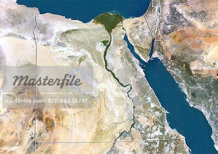 Egypte, Image Satellite couleur vraie avec bordure