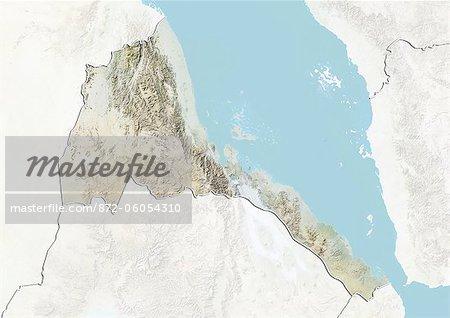 L'Érythrée, carte de Relief avec bordure et masque