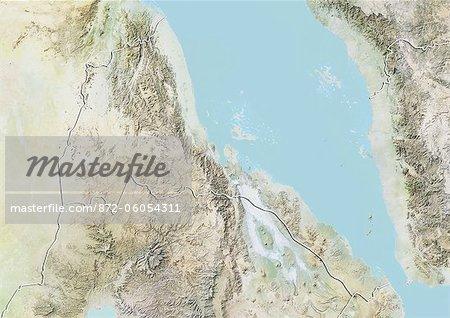 L'Érythrée, carte de Relief avec bordure