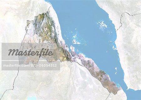 L'Érythrée, Image Satellite avec effet de relief, avec bordure et masque