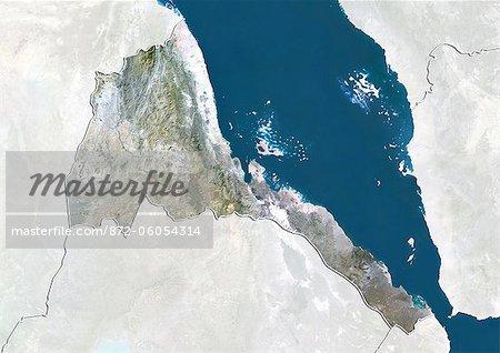 L'Érythrée, True Image couleur Satellite avec bordure et masque