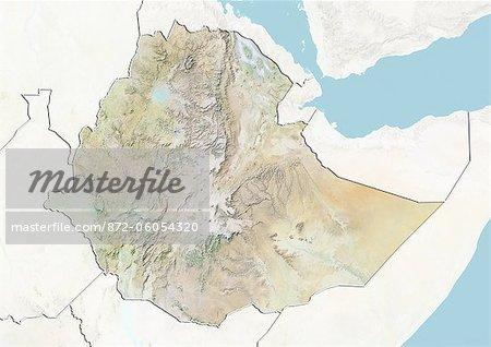 Éthiopie, carte de Relief avec bordure et masque