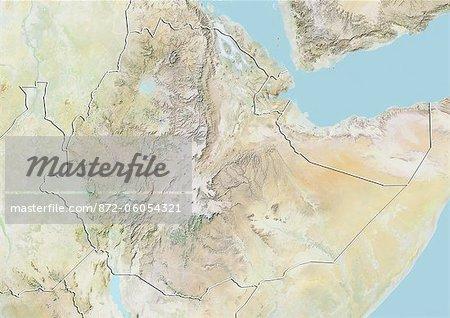 Éthiopie, carte de Relief avec bordure