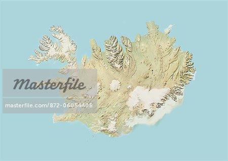 Islande, carte en Relief