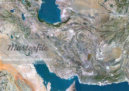 Iran, Image Satellite couleur vraie avec bordure