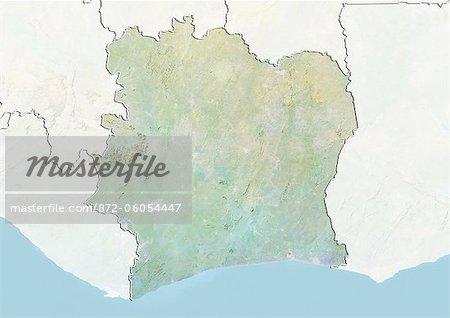 « « « « Côte d'Ivoire, carte de Relief avec bordure et masque