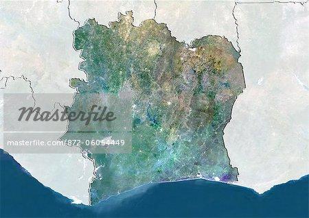 « « « « Côte d'Ivoire, True Image couleur Satellite avec bordure et masque