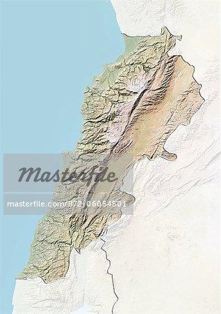 Liban, carte de Relief avec bordure et masque