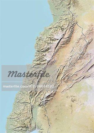 Liban, carte de Relief avec bordure