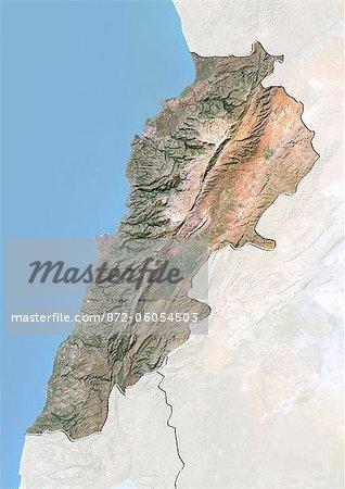 Liban, Image Satellite avec effet de relief, avec bordure et masque