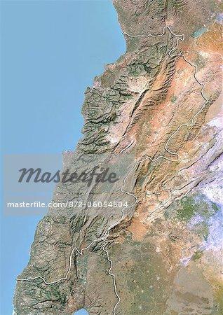 Liban, Image Satellite avec effet de relief, avec bordure