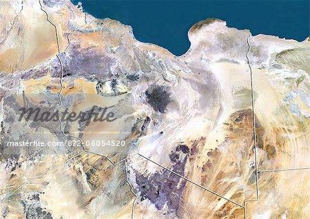 Libye, Image Satellite couleur vraie avec bordure