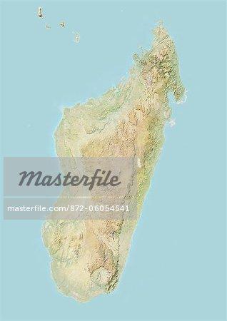 Madagascar, carte de Relief avec bordure