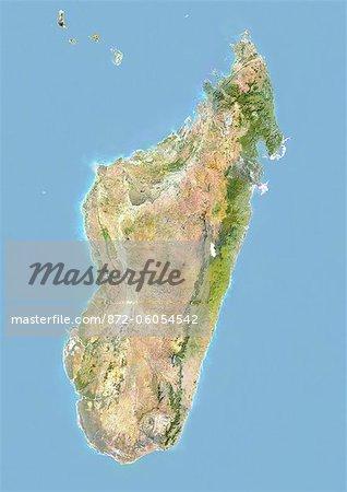 Madagascar, Image Satellite avec effet de relief, avec bordure
