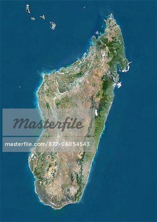 Madagascar, Image Satellite couleur vraie avec bordure